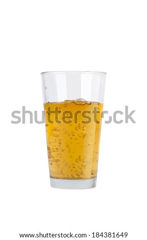 Glass of fresh apple juice on white background  - stock photo
