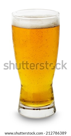 Glass of fresh beer isolated on the white background