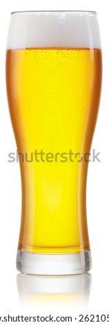 Glass of fresh beer with cap of foam isolated on white background with clipping paths - stock photo