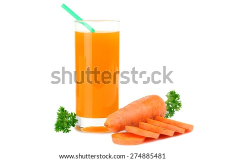 Glass of fresh healthy juice with carrot isolated on white