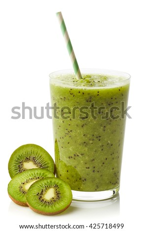 Glass of fresh healthy kiwi smoothie isolated on white background - stock photo