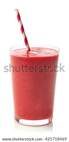 Glass of fresh healthy raspberry smoothie isolated on white background