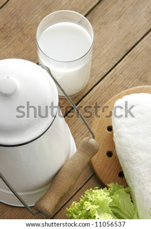 Glass of fresh milk and some cottage cheese - stock photo