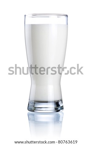 Glass of fresh milk isolated on a white background - stock photo