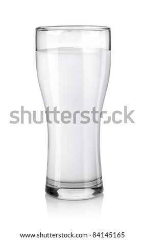 Glass of fresh milk on white background