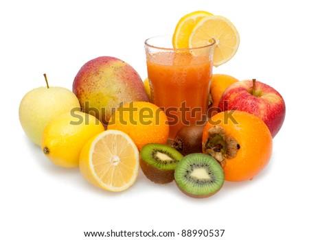 Glass of Fresh Multivitamin Juice - Oranges, Lemons, Kiwi, Mango, Apples and Persimmon Fruits - stock photo