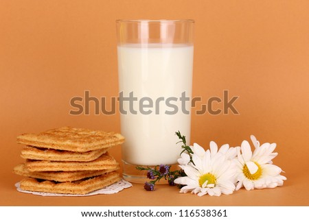 Glass of fresh new milk with cookies on brown background - stock photo