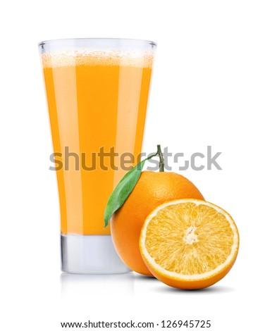Glass of Fresh Orange Juice Isolated on White Background - stock photo