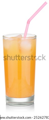 glass of fresh orange juice with ice and a pink straw. Isolated on white with clipping paths - stock photo