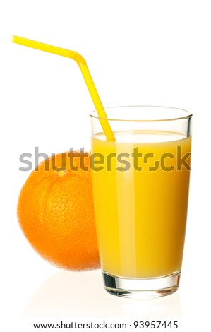 Glass of fresh orange juice with straw and orange fruits on white background
