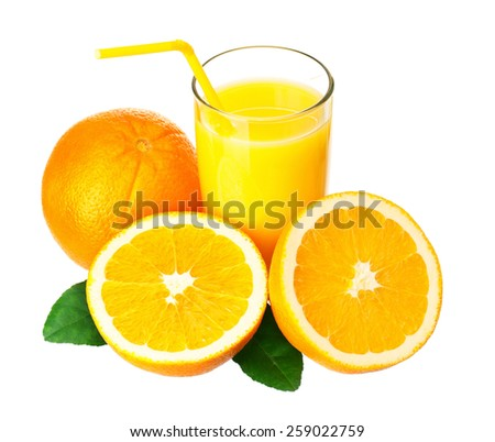 Glass of fresh orange juice with straw and orange fruits with green leaves on white background