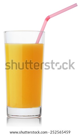 glass of fresh orange juice with straw isolated on white background with clipping paths - stock photo