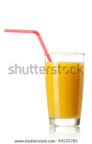 Glass of fresh orange juice with straw on white background - stock photo