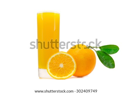 glass of fresh orange juice with whole oranges with leaves and sliced orange isolated on white background - stock photo