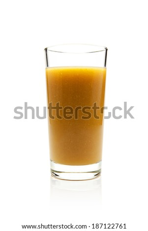 glass of fresh sea buckthorn juice on a white background