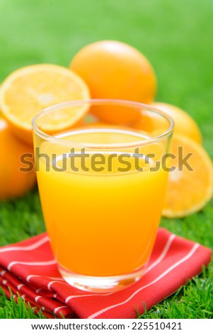 Glass of freshly pressed orange juice and slices of orange on green grass