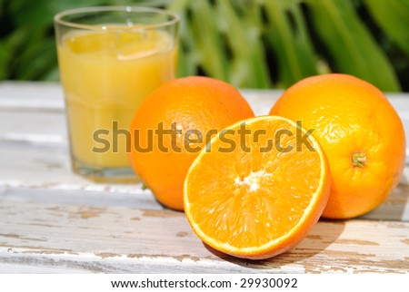 Glass of freshly squeezed tropical orange juice