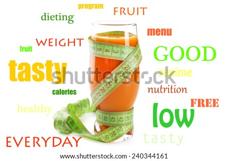 Glass of fruit diet cocktail with measuring tape and words around glass isolated on white, Diet concept - stock photo