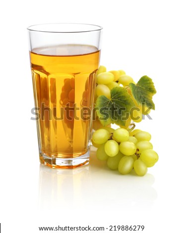 Glass of grape juice isolated on white background