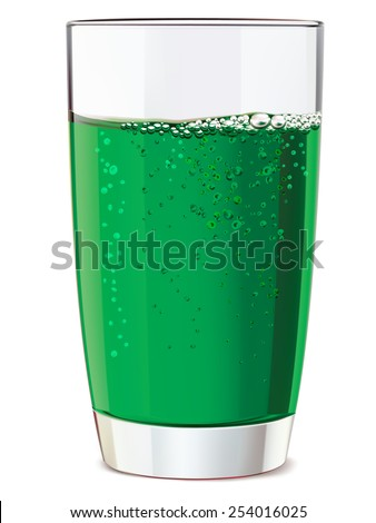 Glass of green juice, isolated. Illustration