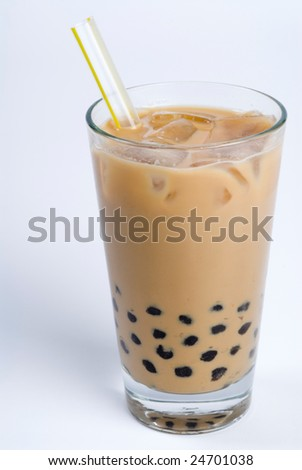 Glass of green tea with tapioca - stock photo