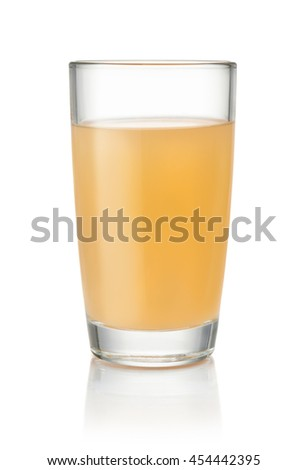 Glass of homemade apple juice isolated on white