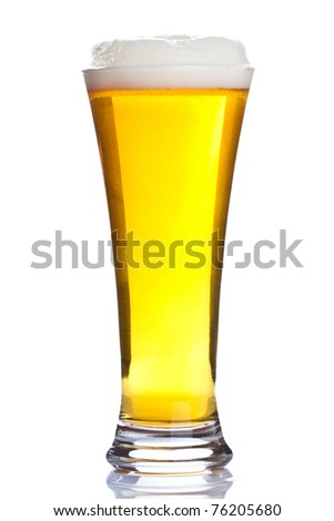 Glass of ice cold beer isolated on white background - stock photo