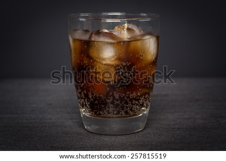 Glass of ice cold cola - stock photo