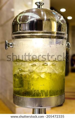 Glass of ice cold , Ice cold glass of juice ,Cold water Lemon , Cold water dispenser - stock photo
