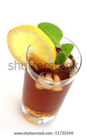 Glass of ice tea - stock photo