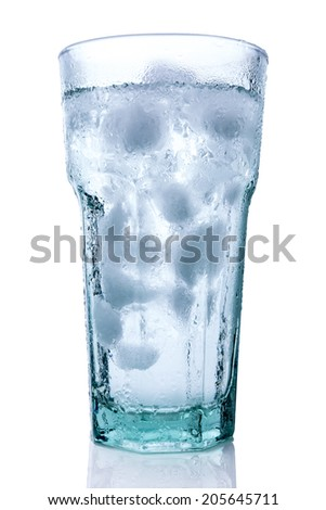 Glass of ice water - stock photo