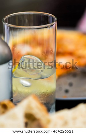 Glass of Iced Cold Still Mineral Water