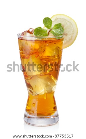 glass of iced tea isolated on white - stock photo