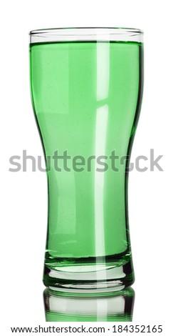 glass of juice on white background - stock photo