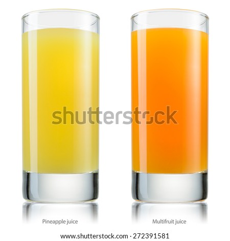 Glass of juice. Pineapple and multifruit. With clipping path. - stock photo