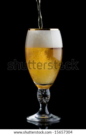 Glass of just poured cold beer, isolated on black