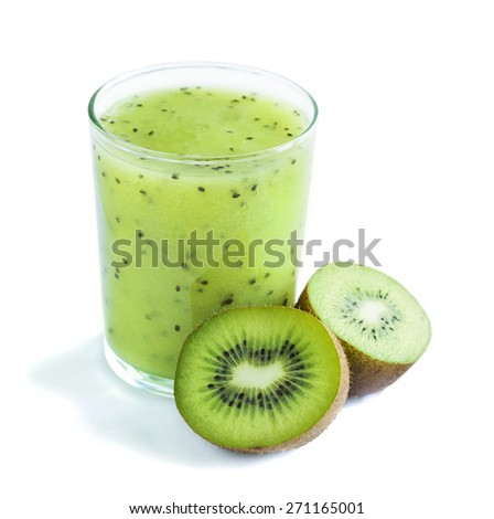 Glass of kiwi juice and fresh fruits isolated on white background. - stock photo