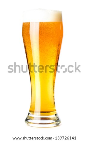 glass of lager isolated on a white background. - stock photo