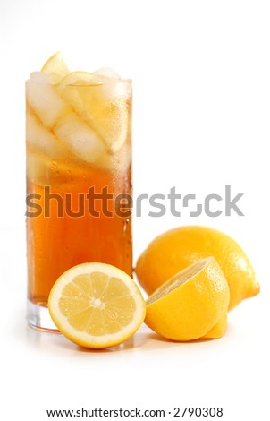 Glass of lemon cold iced tea with lemons on white background - stock photo