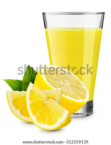 Glass of lemonade isolated on white - stock photo