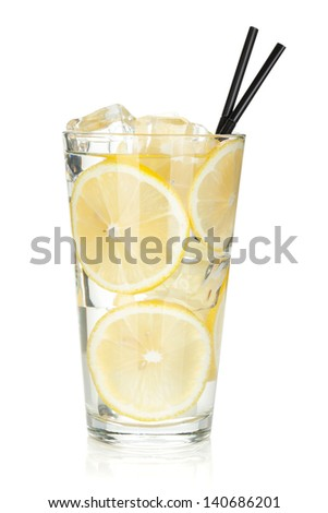 Glass of lemonade with lemon slices. Isolated on white background - stock photo