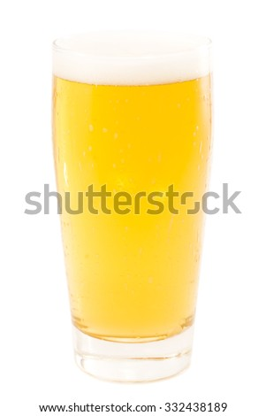Glass of light beer isolated