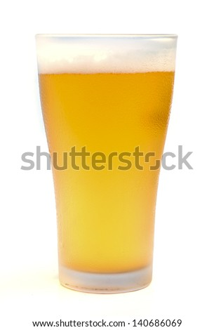 Glass of light beer isolated on a white background.