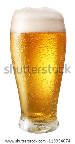 Glass of light beer isolated on a white background. File contains clipping path.