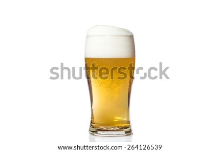 Glass of light beer isolated on white background.
