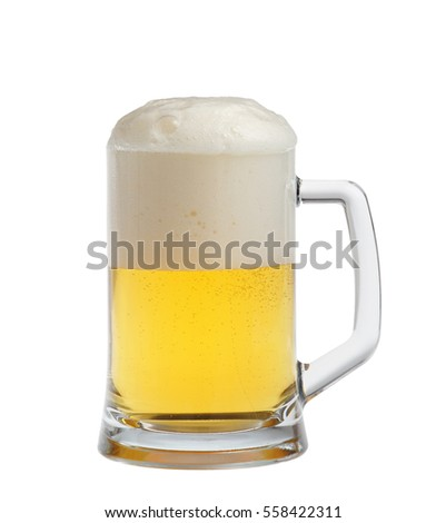 Glass of light beer set on a white background