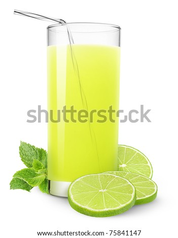 Glass of lime juice and mint isolated on white - stock photo