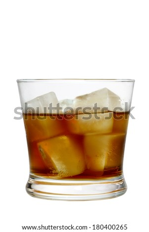 Glass of liquor with ice cutout, isolated on white background