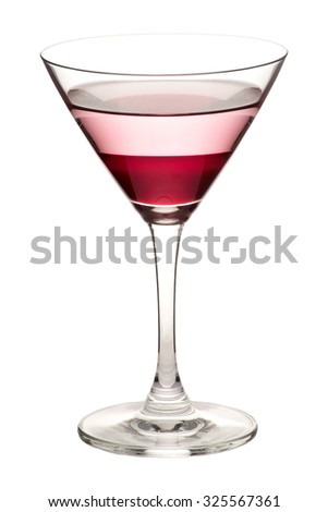 Glass of martini with red water and clear water on white background.