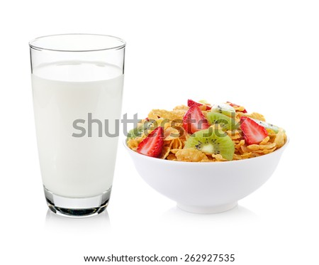 glass of milk and muesli breakfast placed on white background - stock photo